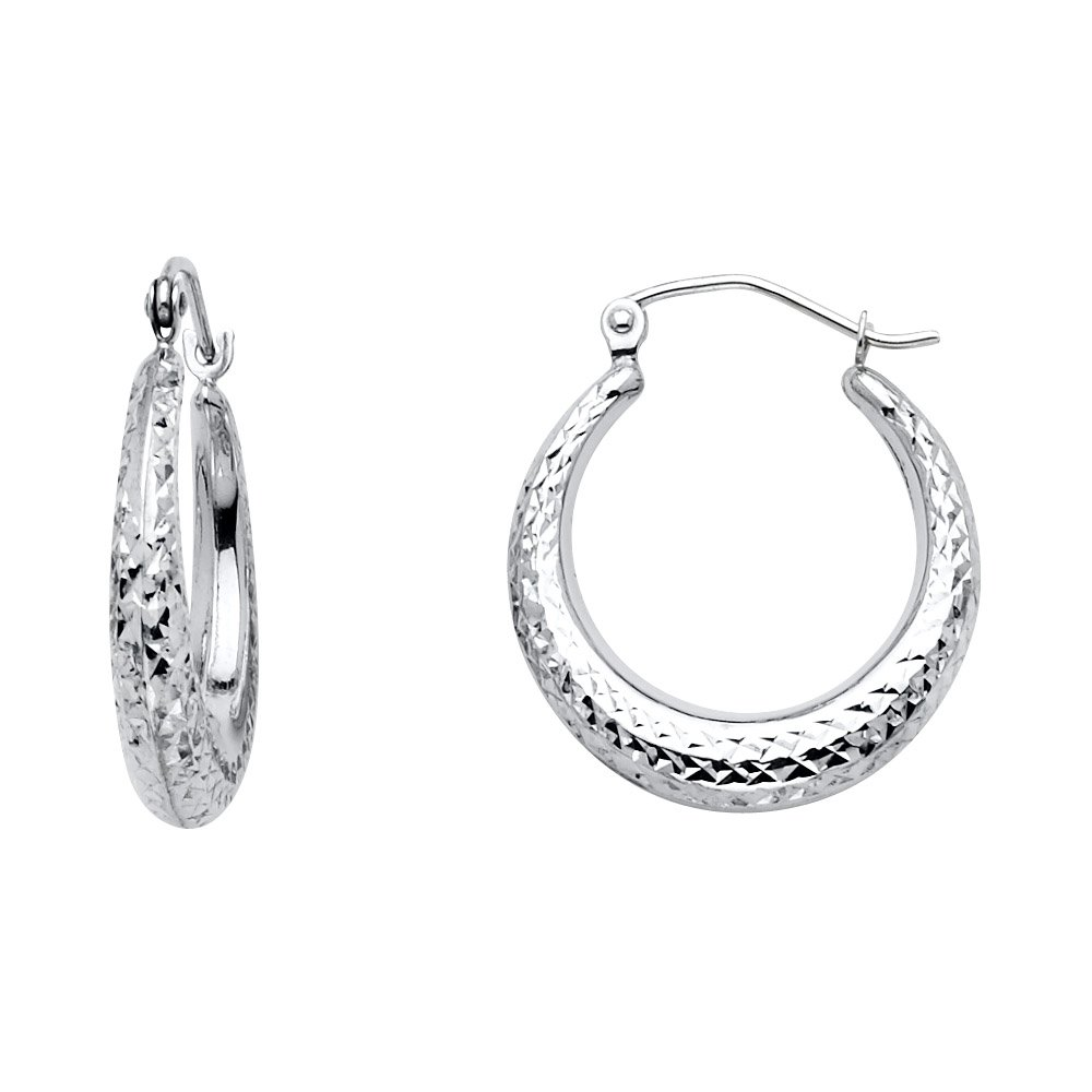 15mm Diameter 14k White Gold 4mm Thick Diamond-Cut Moon Shape Hoop Earrings