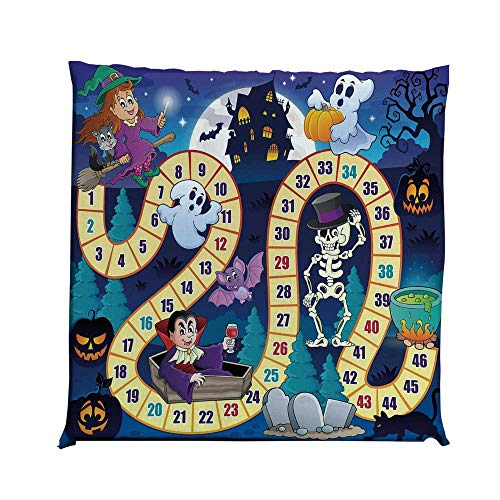 YOLIYANA Board Game Durable Square Chair Pad,Halloween Theme Symbols Happy Witch Girl Vampire Ghost Pumpkins Happy Comic for Bedroom Living Room,One Size]()
