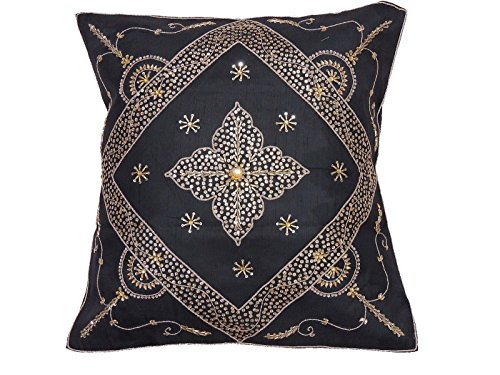 NovaHaat Stunning Handcrafted Beaded Black Sari Indian Floor Lounge Pillow/Cushion Cover Case with intricate Bead, Sequin and Zardozi Embroidery Work in Gold, India - Size: 26