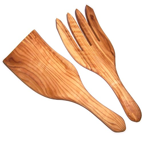 (Olive Wood Handcrafted Wide Spaghetti/Salad Server Set (8.5 Inch long each) - Asfour Outlet Trademark)