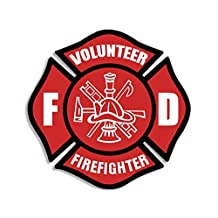 Red VOLUNTEER FIREFIGHTER Maltese Cross Sticker (fire fighter fireman decal)