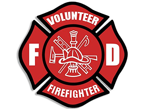 American Vinyl Red VOLUNTEER Firefighter Maltese Cross Sticker (fire fighter (Maltese Cross Stickers)