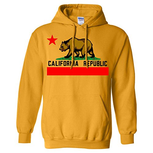 Text T-shirt Yellow - Dolphin Shirt Co California Republic Borderless Bear Flag Black Text Sweatshirt Hoodie - Gold XX-Large