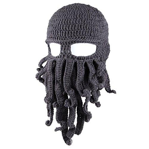 Knit Esquí oscuro gris Viento ECYC® MáScara Sombrero De A01 Tentacle Cap Funny Octopus Beanie qSww74vFtT