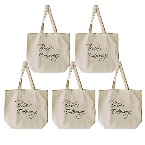 Natural mano Canvas X Bride`s Gift Entourage 100 Mother ElegantPark the 1 Favor media Algodón of boda de Bag Groom Bolsas XqxIUvAp