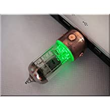 Slavatech Handmade 8GB Pentode Radio Tube Custom USB Flash Drive with wood stand. Steampunk/Industrial ART, Green