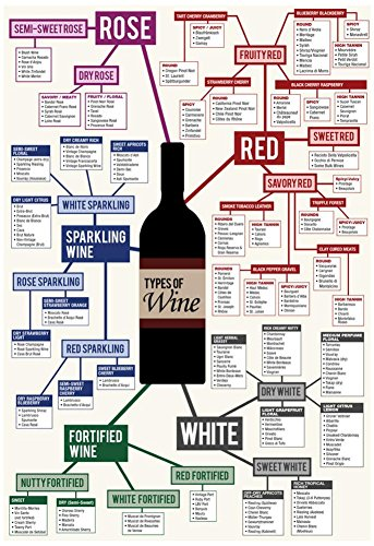 Types of Wine Chart Poster 13 x 19in with Poster Hanger