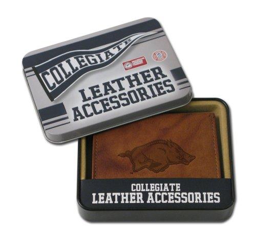 NCAA Arkansas Razorbacks Embossed Genuine Leather Trifold Wallet Arkansas Razorbacks Embroidered Leather