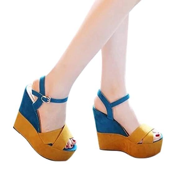 Rcool Zapatos de tacón zapatos de tacón alto mujer zapatos de tacón transparentes,Hebillas de colores mixtos Peep Toe Mocasines Sandalias Zapatos: ...