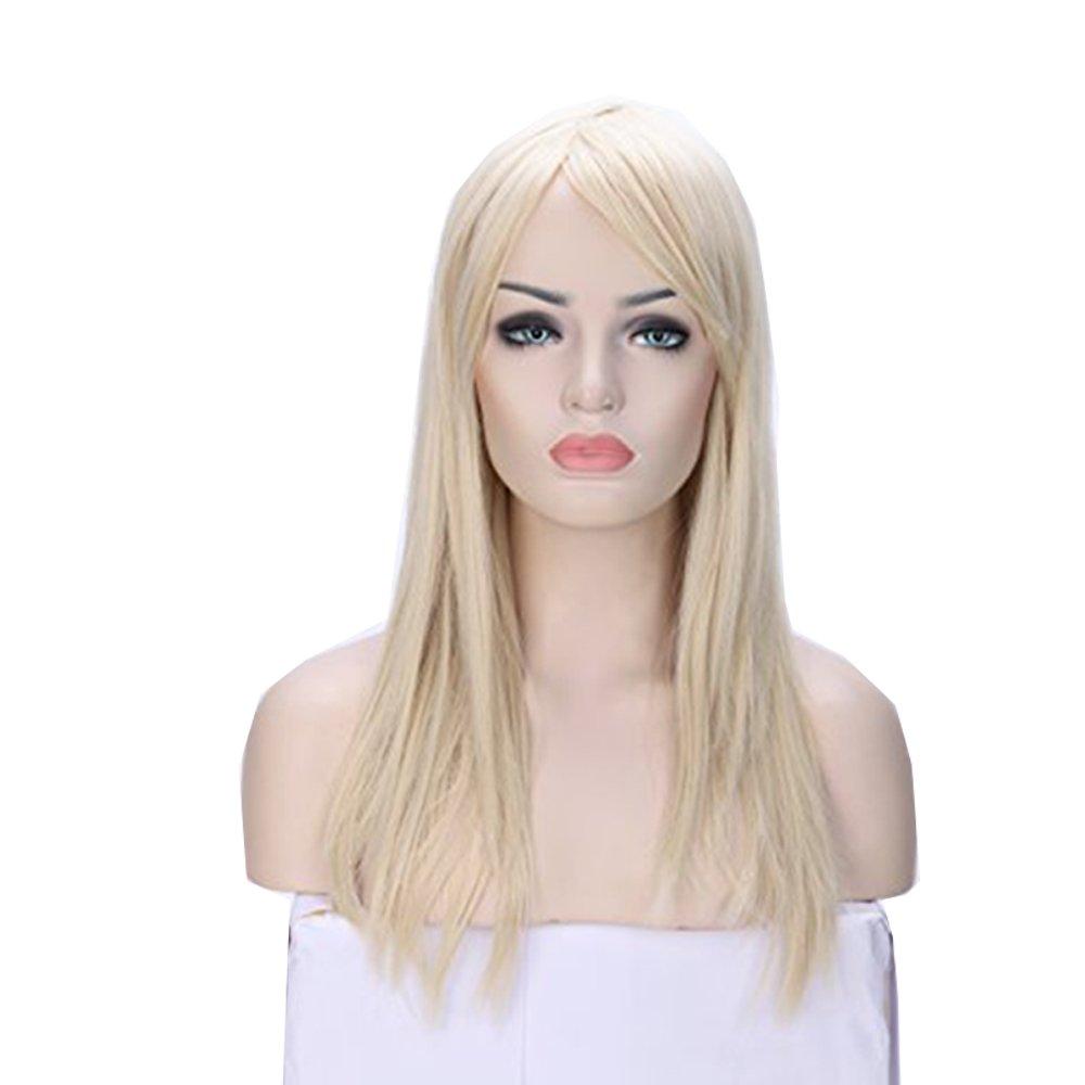 Parrucca Nera Lunga da Donna Cosplay Halloween con Frangia Capelli Lisci Sintetici Full Wig Colorata per Travestimento Feste Carnevale 58cm 23 Nero Scuro