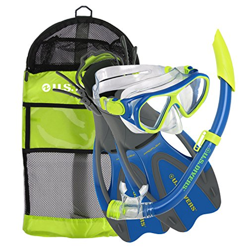 (U.S. Divers Dorado Ii Pro Jr Mask, Sea Breeze Snorkel, Proflex Fins Set with Gear Bag, Yellow/Blue, Medium )