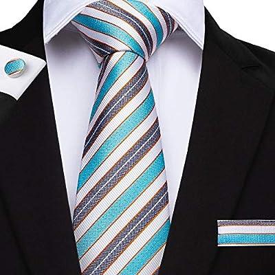 KYDCB Nuevo diseñador Azul Gris a Rayas Hombres Corbata Hanky ...