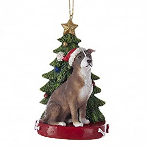 kurt adler american pitbull with christmas tree ane lights ornament for personalization