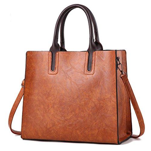 Women Leather Handbags Ladies Pu Female Square Bag Black Shoulder Bags Big Bags Sac A Main Feminine Red Brown Brown