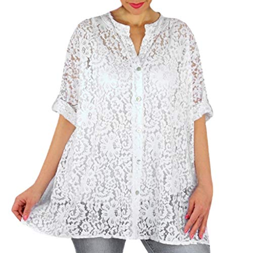 Toimothcn Women's Sheer Lace Button Tunic Tops Long Sleeve Casual Cardigan Blouse Shirt (White,XXXXL)