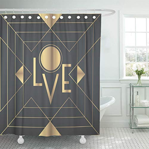 Emvency Shower Curtain Black Great Retro with 'Love' Inscription Gatsby Style Party Shower Curtains Sets with Hooks 60 x 72 Inches Waterproof Polyester Fabric -