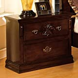 Furniture of America CM7571N Tuscan Ii Glossy Dark Pine Nightstand