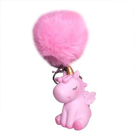 Da.Wa 1X Felpa Llavero de Tianma de Unicornio Llavero Color Unicornio Regalo para Niños Niñas Rosa
