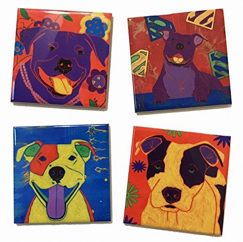 Bull Tile - Pitbull Ceramic Tile Coaster Set, Pitbull Collectible Dog Lover Gift by Angela Bond