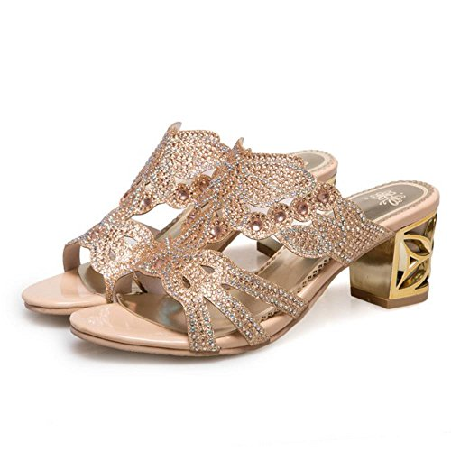 Bloc Sandales Femmes Mules Gold Talons Mode Jojonunu q7twcggA8
