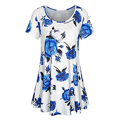 FarJing Clearance Sale Womens Short Sleeve O Neck Floral Tops Ladies Summer T-Shirt Blouse (S,White)