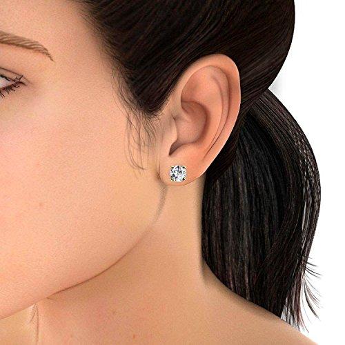 Offre spéciale.. 0,30carats Diamant rond à vis arrière boucles d'oreilles clous en or jaune 18K