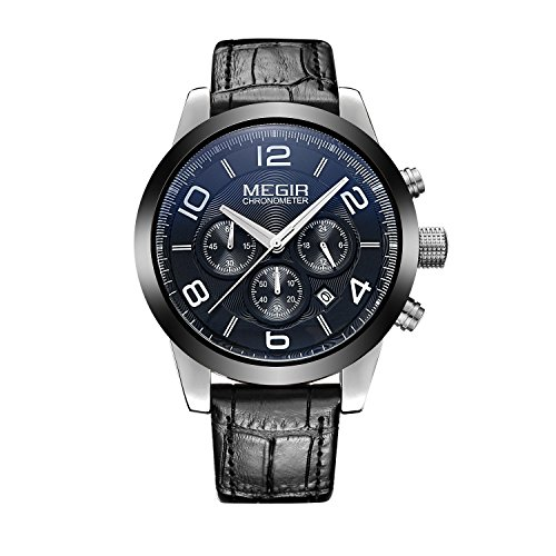 Man, Quartz Watch, Business, Leisure, Outdoor, Multifunction, 6 Pointer, PU leather, - Wellington Mall