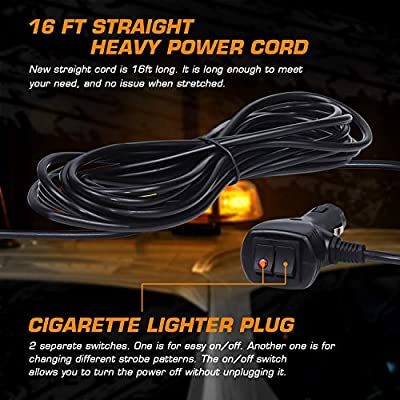 WoneNice 12V Amber COB LED Car Roof Emergency Strobe Warning Light with 5M Power Cable and 7 Flash Modes for Cars Truck SUV: Automotive