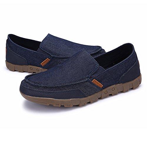 Juleya on Zapatos Lona de Slip Zapatos Sandalias Entrenadores Zapatos Azul del Zapatos Hombre Conducción Plano 48 Cubierta Zapatos de Mocasines Verano Zapatillas Oscuro Moda Barco Pumps 38 Tenis rwxqBr0I