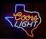 New Coors Light Texas Real Glass Beer Bar Pub Store Decor Neon Signs 19x15