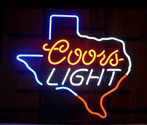 New Coors Light Texas Real Glass Beer Bar Pub Store Decor Neon Signs 19x15 by Best Music Posters