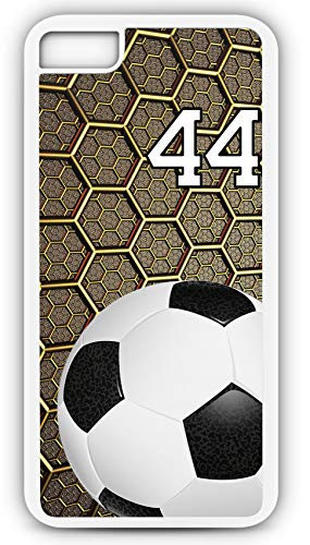 iPhone 7 Phone Case Soccer SC047Z by TYD Designs in White Rubber Choose Your Own Or Player Jersey Number 44 ()