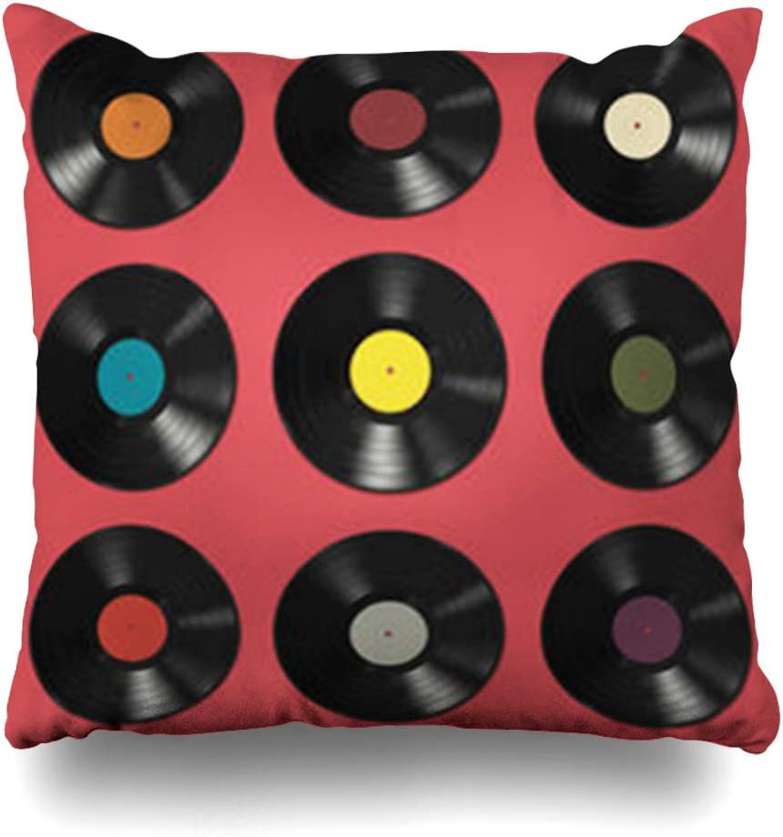 HomeOutlet Throw Pillow Cover Color Red Player Vinyl Records Labels On Music Pink Vintage Pattern Abstract Album Audio Black Party Pillowcase Square Size 18 x 18 Inches Home Decor Sofa Cushion Case