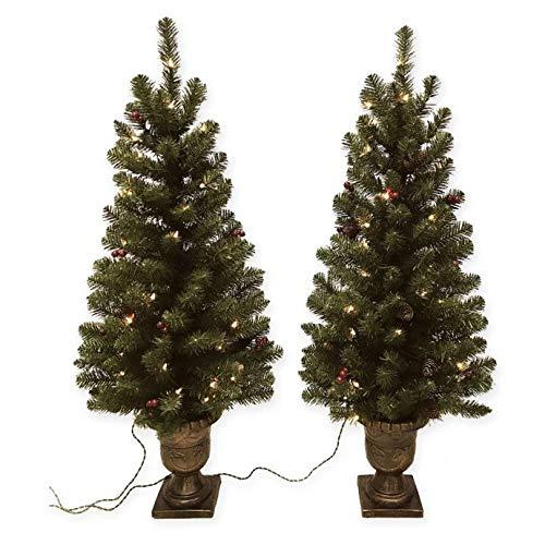 Pine Pre-Lit 4-Foot Porch Artificial Christmas Trees (Set of ()