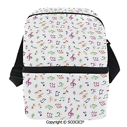 SCOCICI Thermal Insulation Bag Watercolor Icons Sonic Beats Vocals Dynamic Cultural Activity Concert Harmony Artwork Decora Lunch Bag Organizer for Women Men Girls Work School Office Outdoor ()