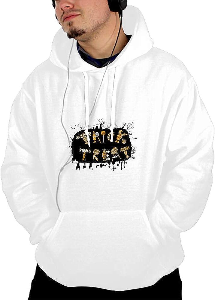 WUJIU Unisex 3D Printed Trick Or Treat Pullover Long Sleeve Fleece Hooded Sweatshirts with Pockets