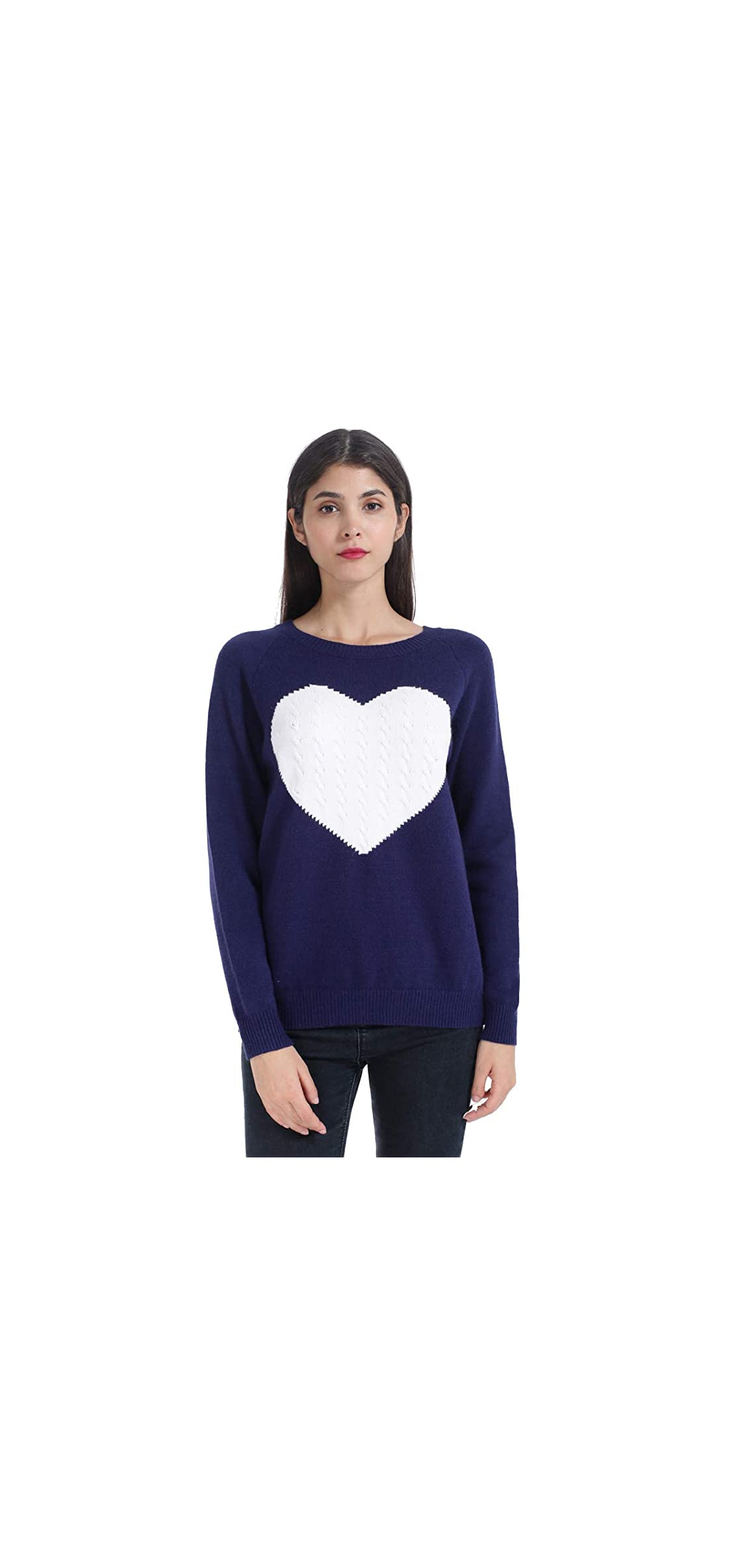 Long Sleeve Heart Print Knitted Pullover Sweater Tops