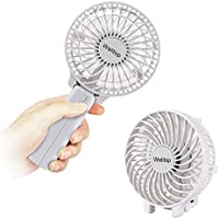Welltop® Rechargeable Fans Handheld Mini Fan Battery Operated Electric Personal Fans with Foldable Fans Hand Bar Desktop Fan Hand Fans (White)