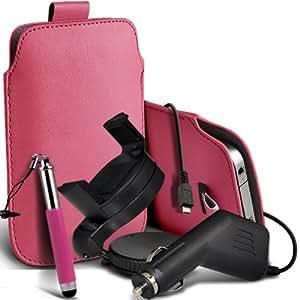 Sony Xperia T premium protección PU ficha de extracción Slip In Pouch Pocket Cordón piel con lápiz óptico retráctil, un cargador de coche USB Micro 12v y 360 Sostenedor giratorio del parabrisas del coche cuna Baby Pink por Spyrox