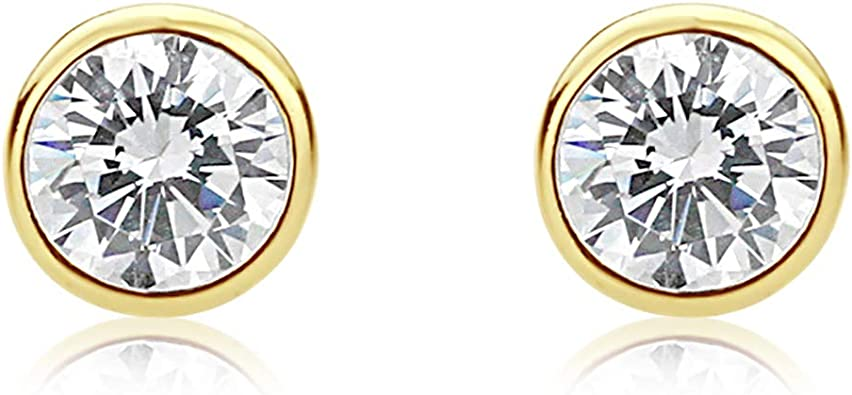 1//6cttw,Excellent Quality 14k Yellow Gold Round Diamond Simulated Cubic Zirconia SINGLE STUD Earrings Bezel