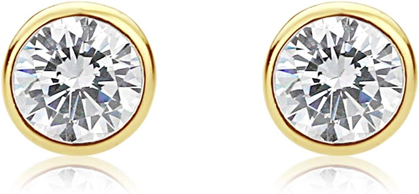 Diamond Elegant Bezel 14K Yellow Gold Cartilage Stud Earring .06CT