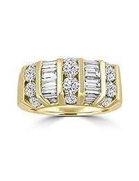 2.00ct Baguette & Round Diamond 14k Yellow Gold Wedding Anniversary Band Ring