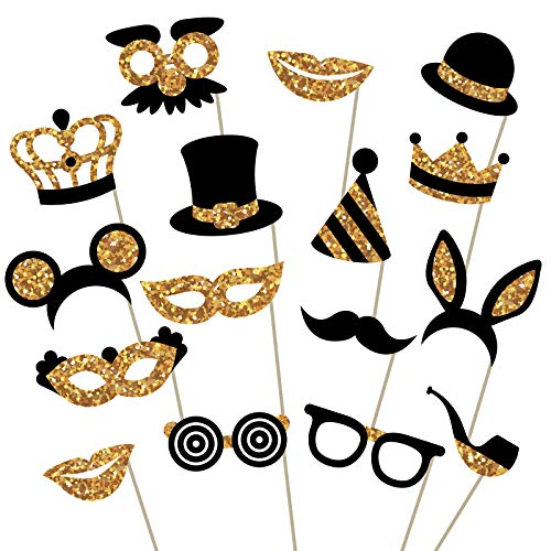 Gold Photo Booth Props (No Glitter) - Fully