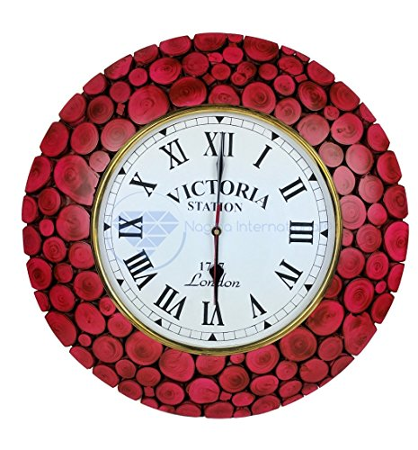 Contemporary Colorful Hand Crafted Sliced Logs Wooden Decorative Wall Clock | Premium Wall Decor Accents | Nagina International (Turnip (Sliced Log)