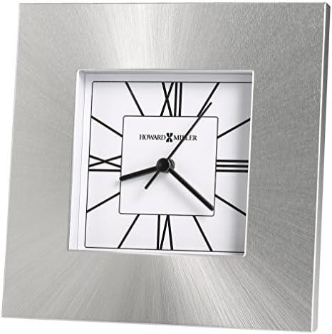 Howard Miller Kendal Table Clock 645-749 Silver Square Aluminum Home Decor with Quartz Movement