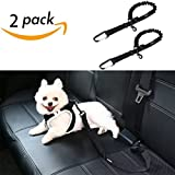 SCENEREAL Dog Seat Belt for Car – Pet Cat Vehicle Adjustable Safety Leash Belt Heavy Duty & Elastic & Durable for Car Travelling 2 Pcs/Set, Black For Sale