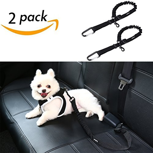 SCENEREAL Dog Seat Belt for Car - Pet Cat Vehicle Adjustable Safety Leash Belt Heavy Duty & Elastic & Durable for Car Travelling 2 Pcs/Set, Black