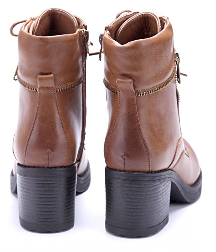 Schuhtempel24 Damen Schuhe Klassische Stiefeletten Stiefel Boots Blockabsatz Reißverschluss 7 cm Camel