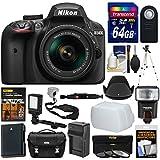 Nikon D3400 Digital SLR Camera & 18-55mm VR DX AF-P Lens (Black) + 64GB Card + Case + Flash + Video Light + Battery & Charger + Tripod + Filters Kit