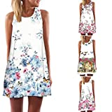 #10: Women Cute Boho Butterfly Flowers Print Sleeveless Beach Mini Summer Dress Plus Size